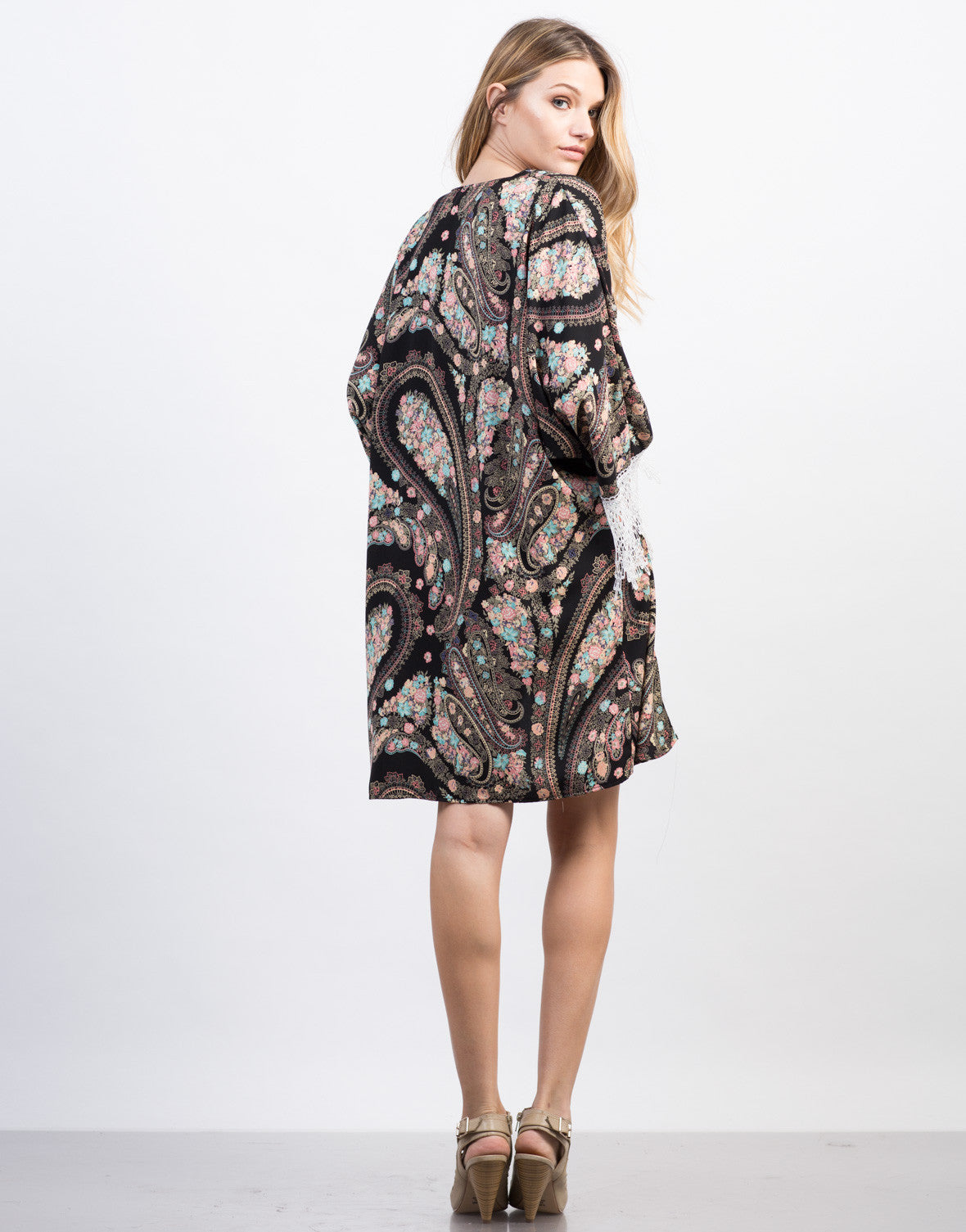 Back View of Floral Paisley Kimono Cardigan