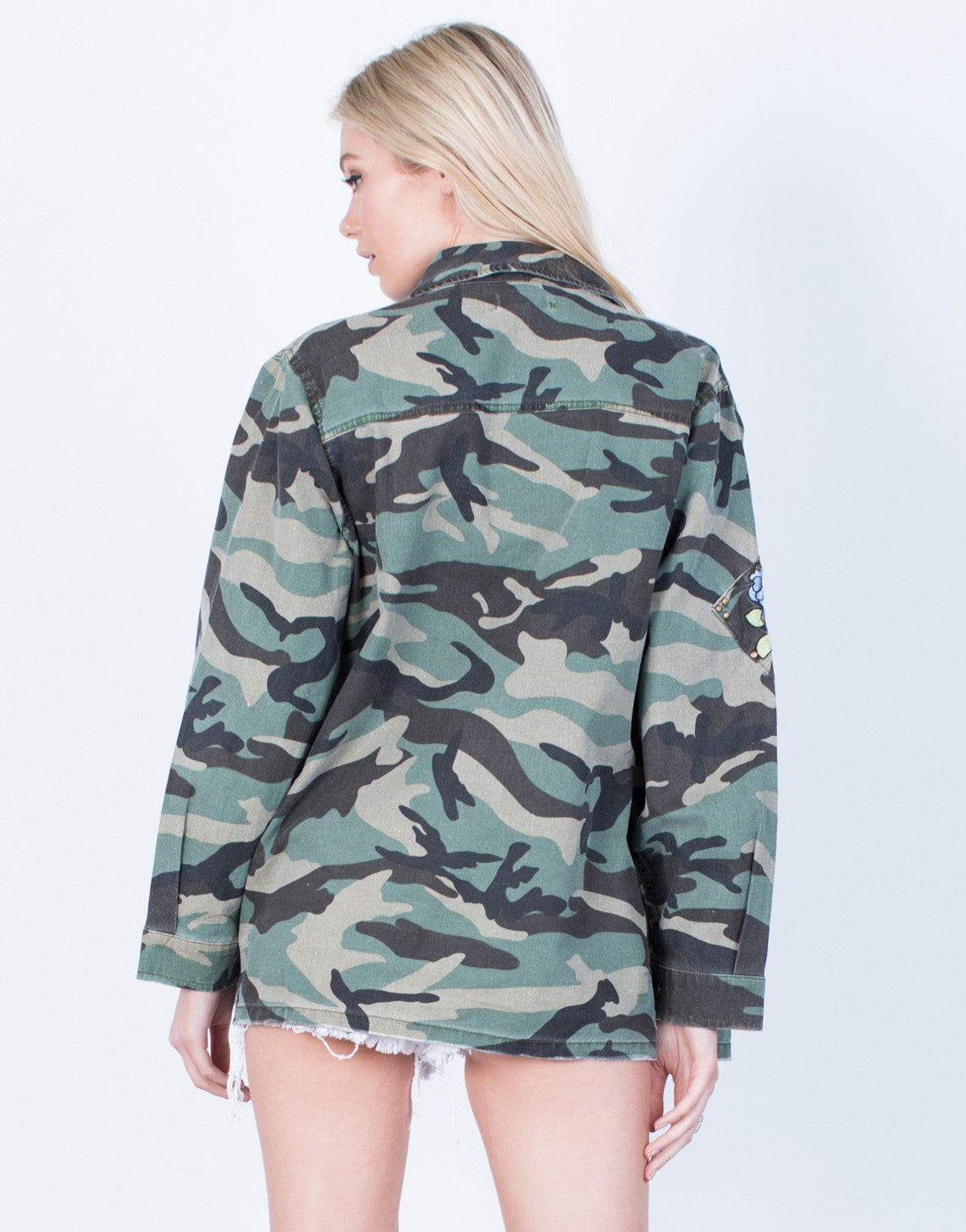 Back View of Floral Patched Camo Jacket