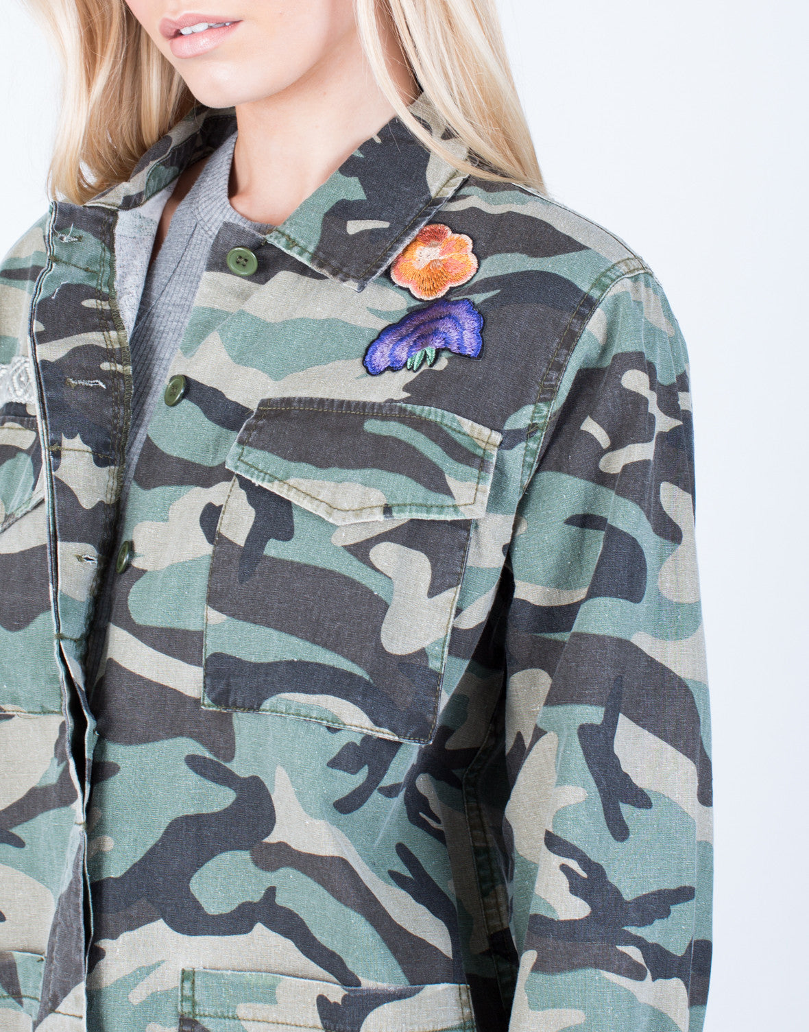 Detail of Floral Patched Camo Jacket