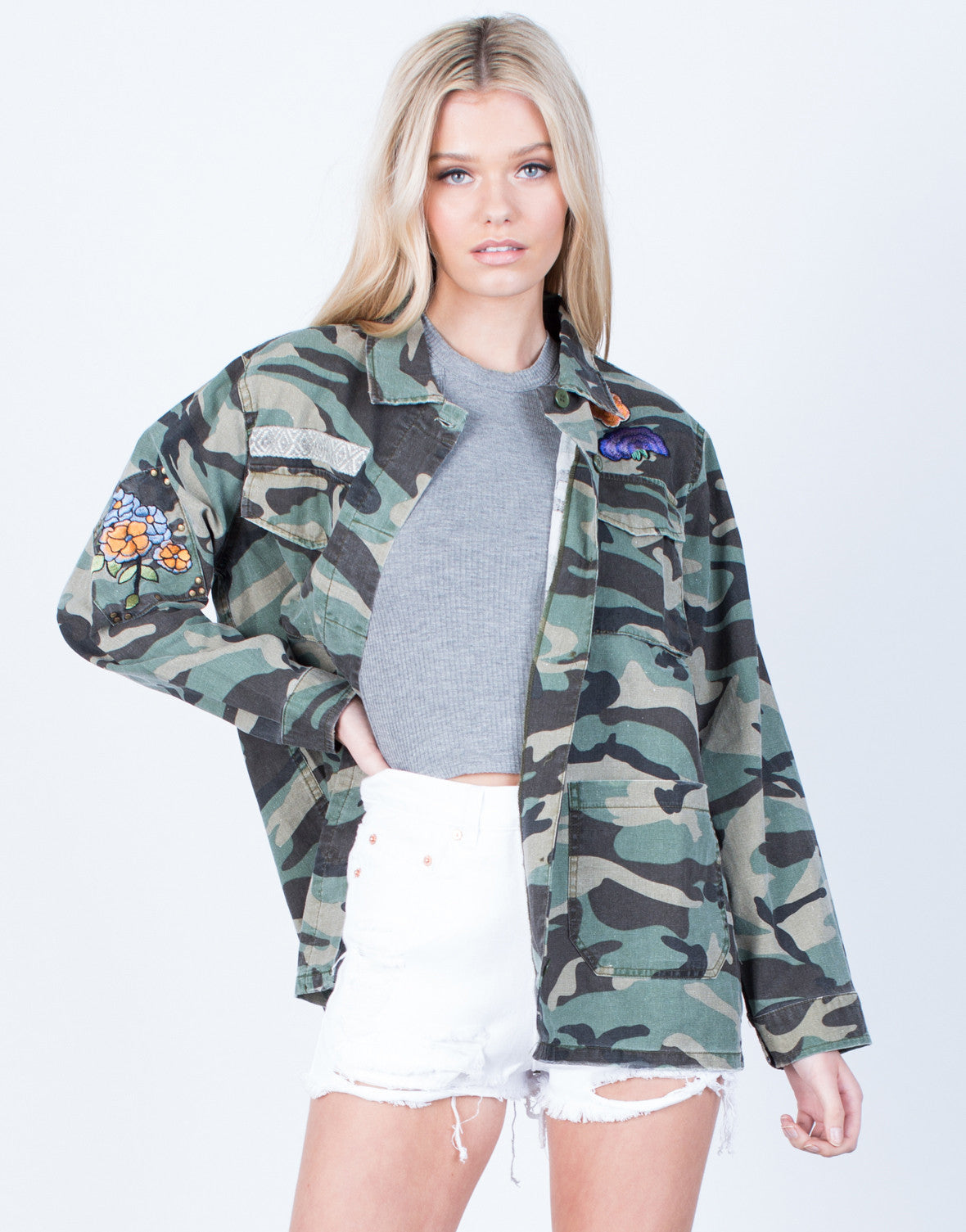 Front View of Floral Patched Camo Jacket