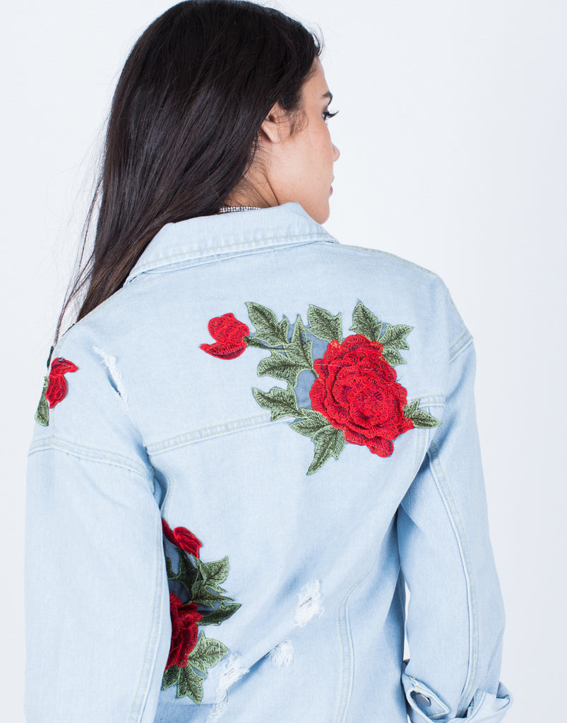 Detail of Floral Patched Denim Jacket