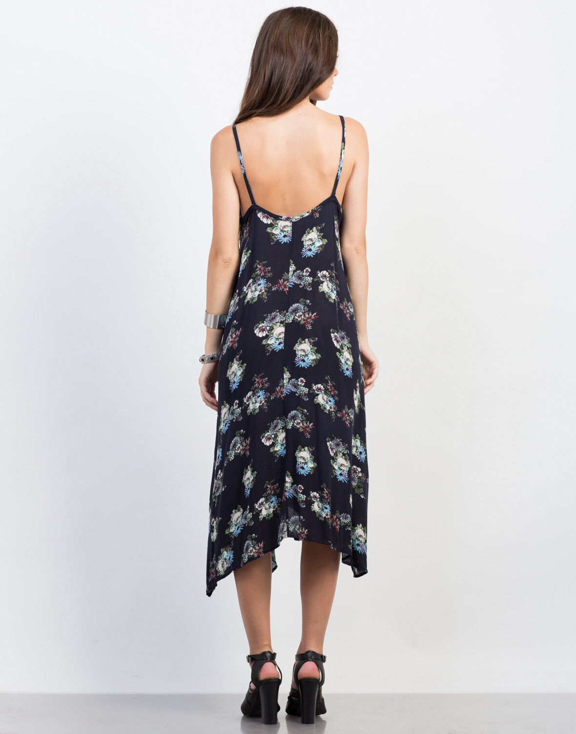 Back View of Floral Print Midi Dress