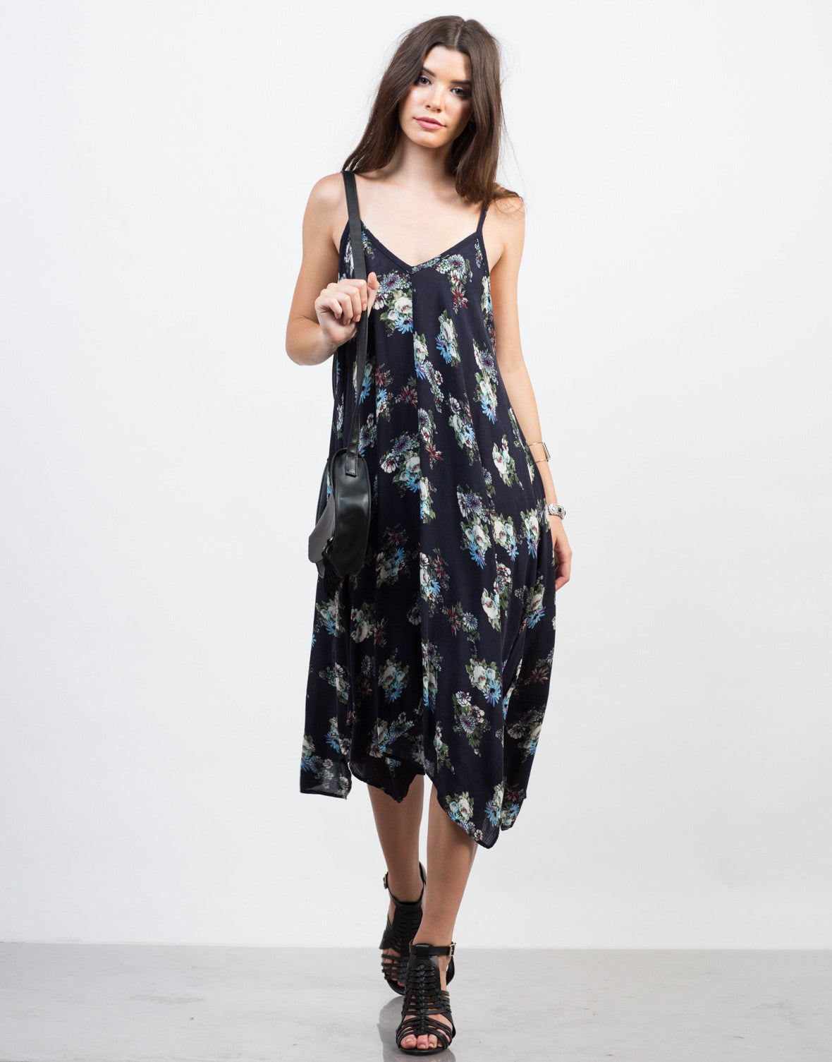Front View of Floral Print Midi Dress