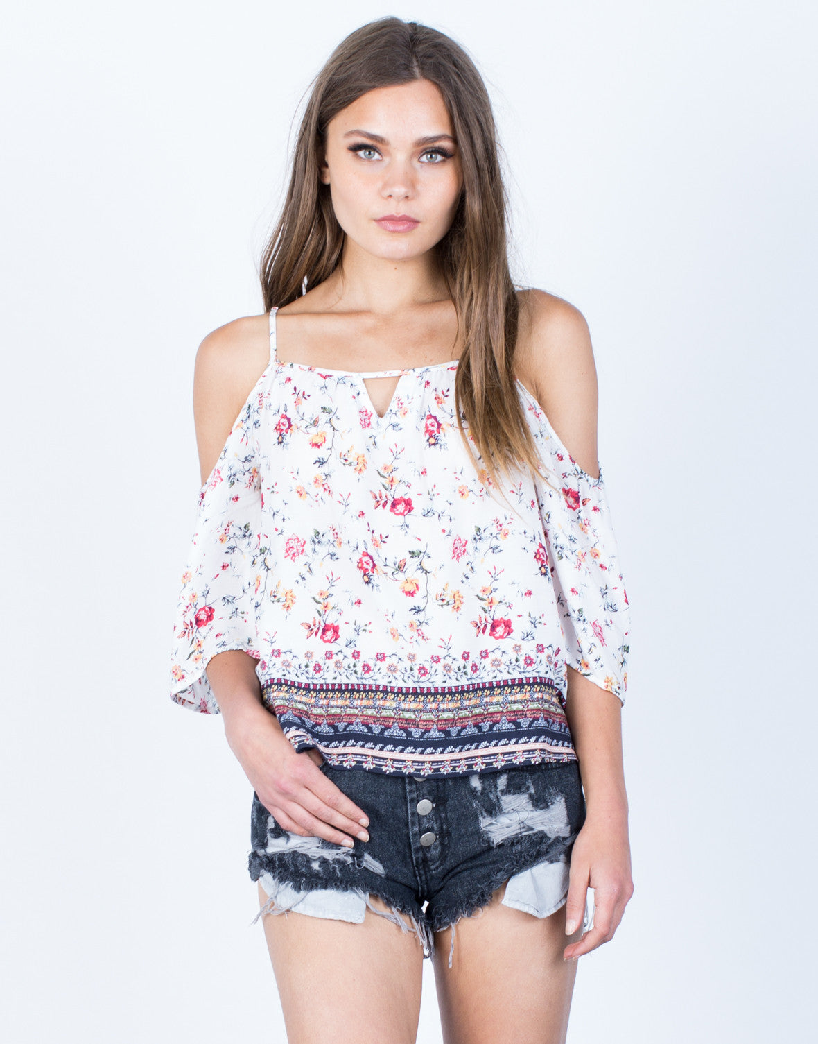 Front View of Floral Print Cold Shoulder Top