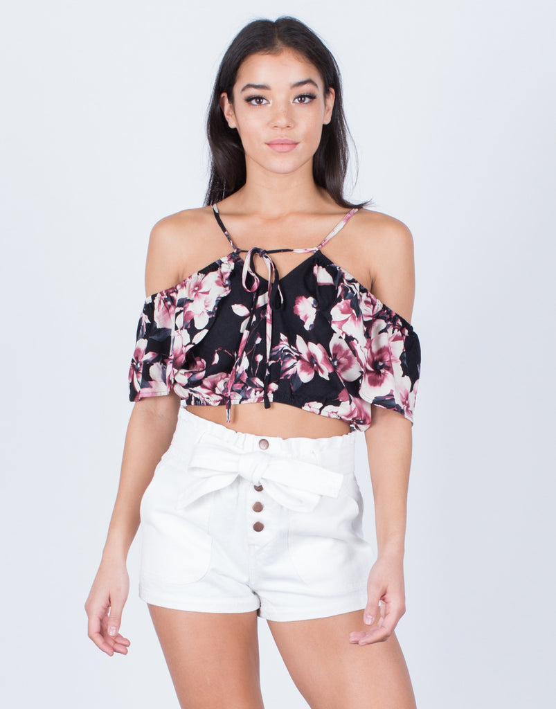 Front View of Floral Printed Crop Top
