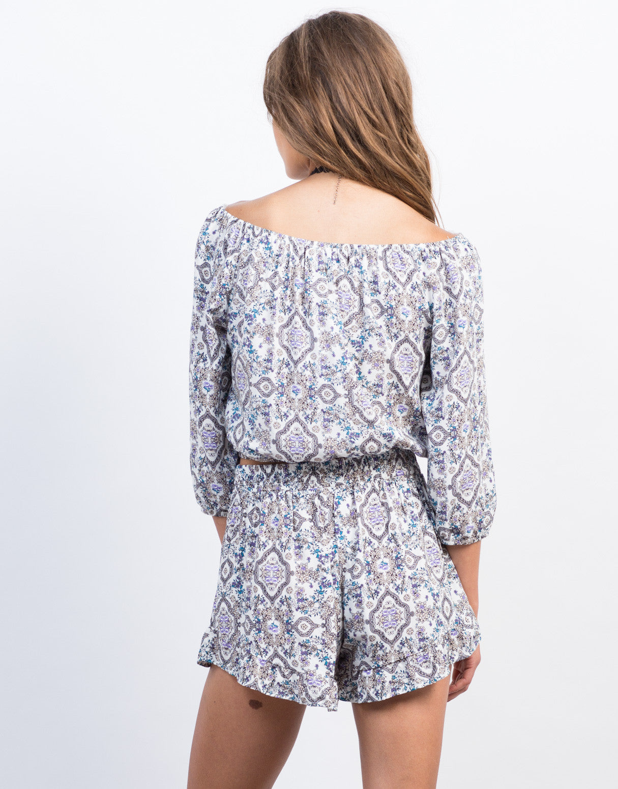 Back View of Floral Printed Off The Shoulder Top