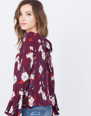 Detail of Floral Ruffled Sleeve Top