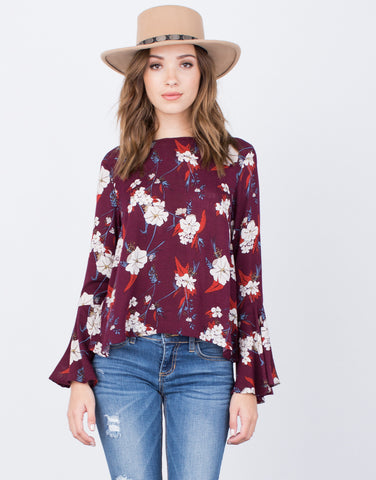 Front View of Floral Ruffled Sleeve Top