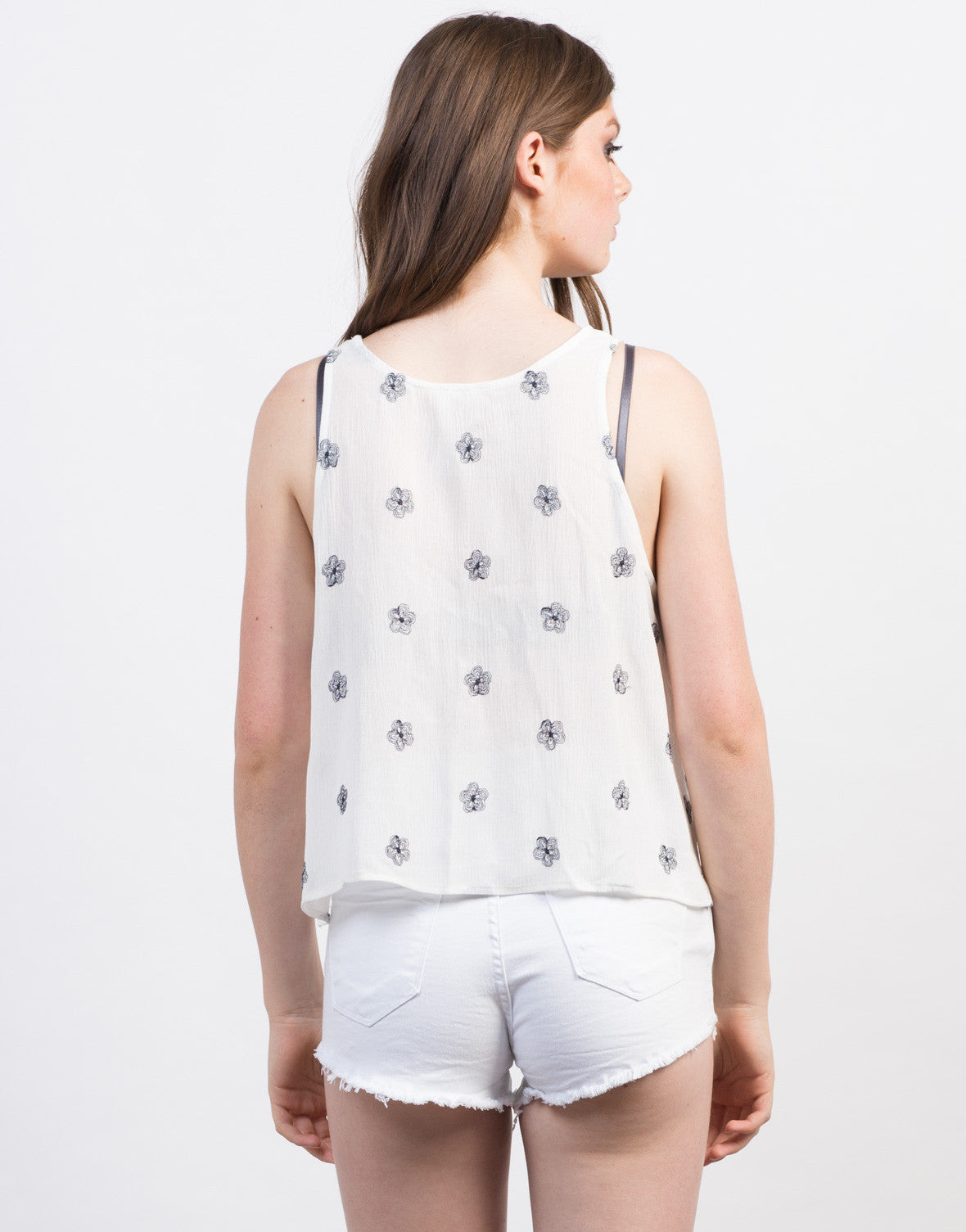Back View of Floral Side Tie Tank