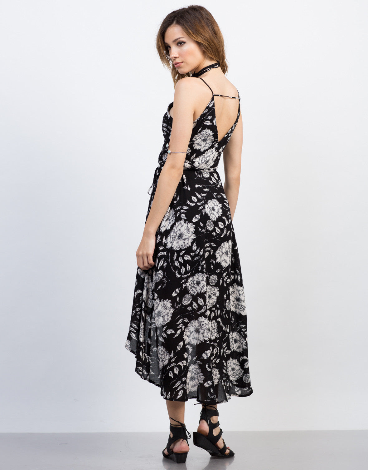Back View of Floral Waist Tie Maxi Dress