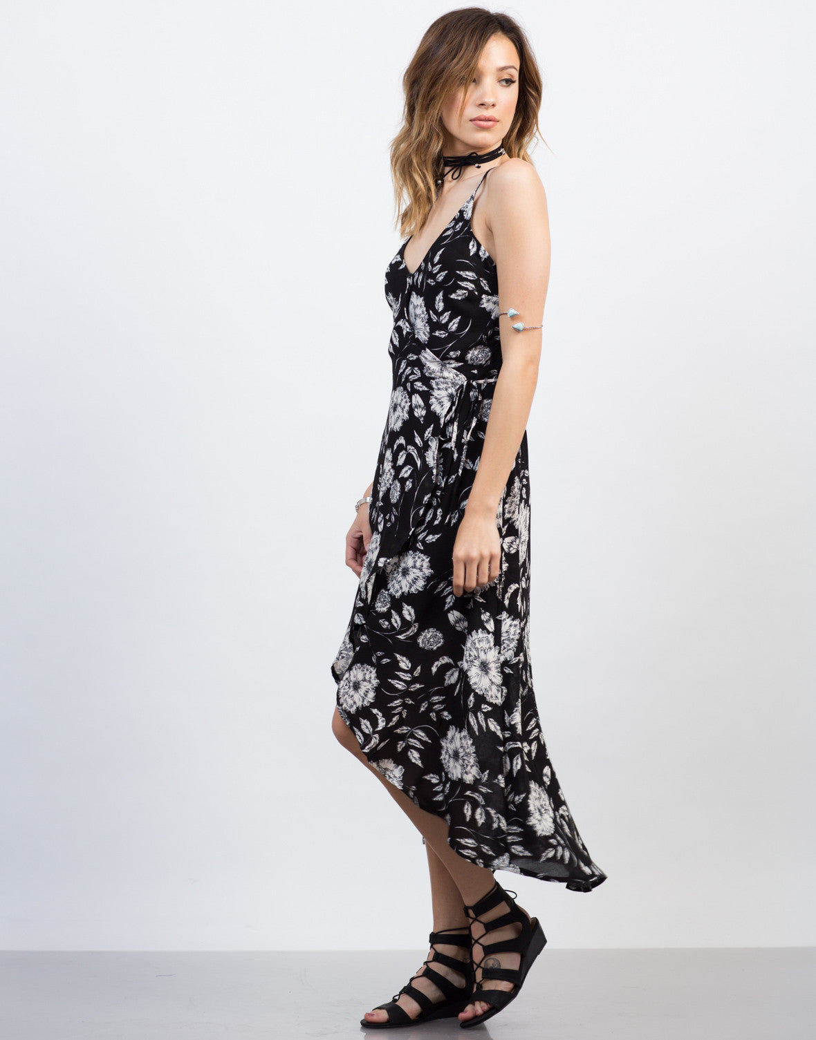 Side View of Floral Waist Tie Maxi Dress