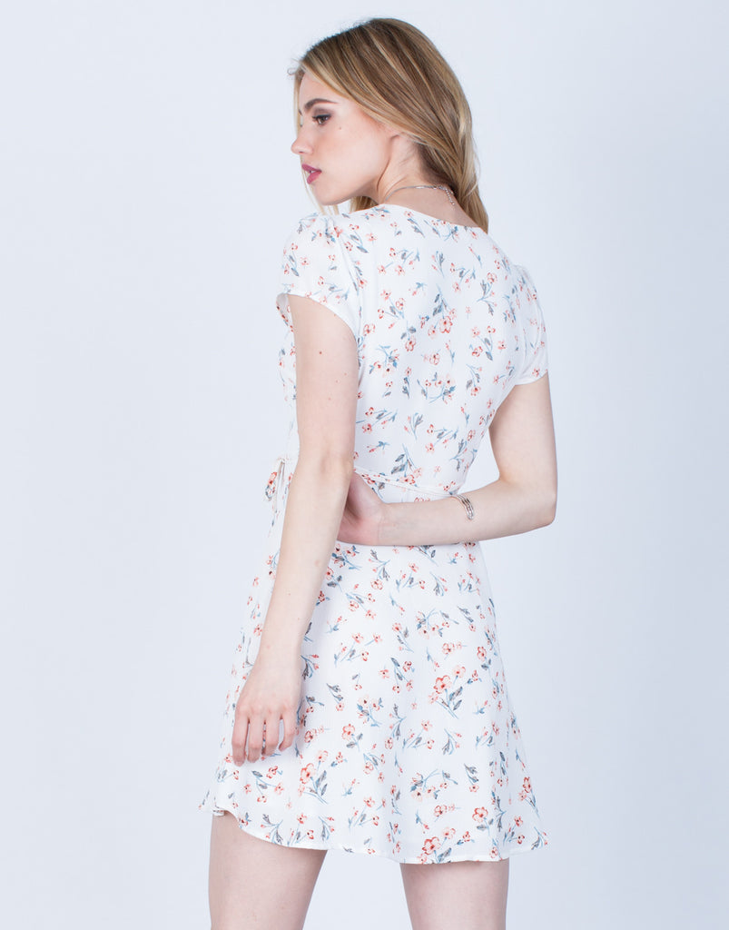 Back View of Floral Wrap Dress