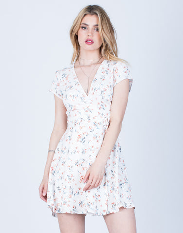 Front View of Floral Wrap Dress
