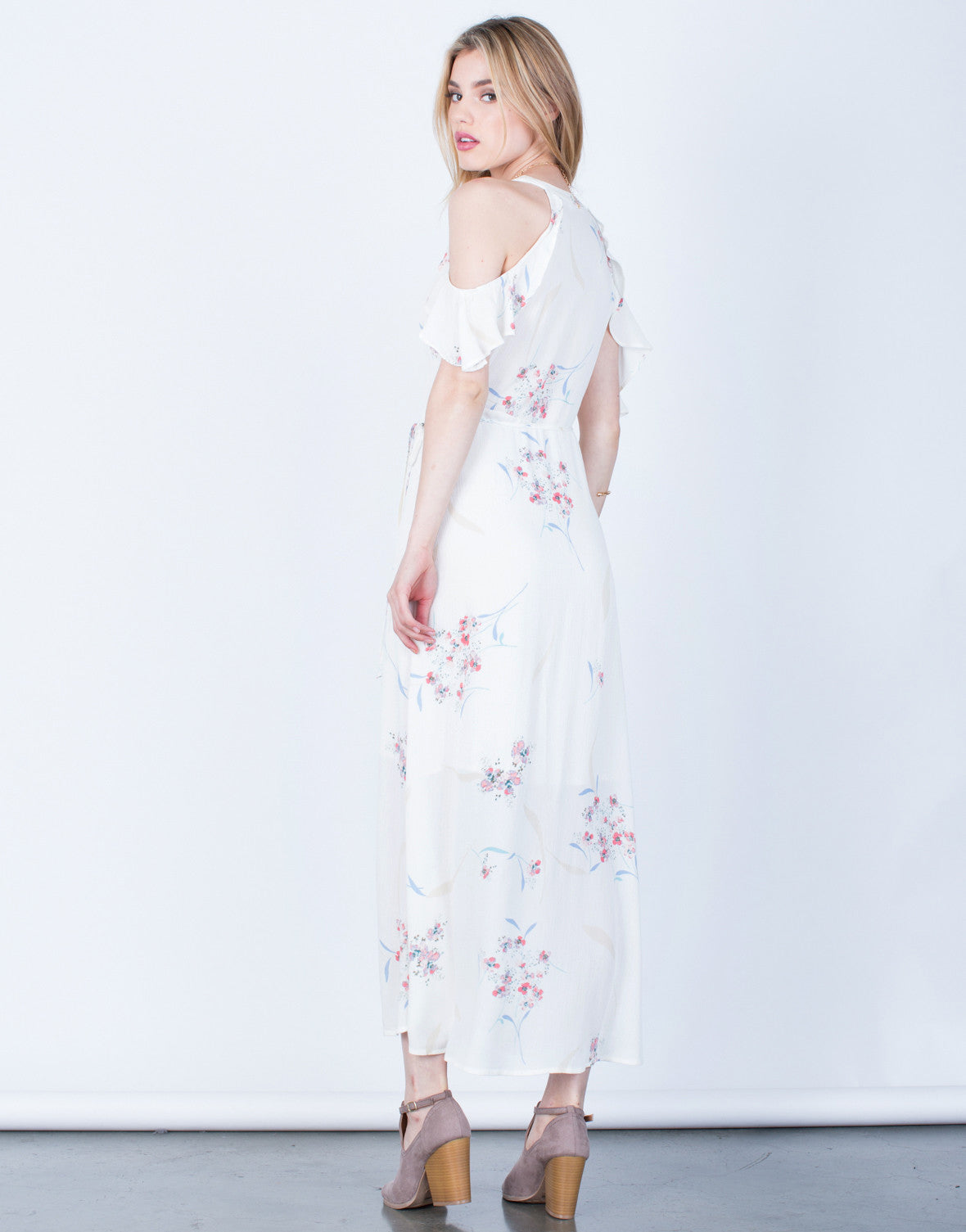 Back View of Floral Maxi Wrap Dress