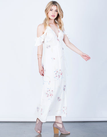 Front View of Floral Maxi Wrap Dress
