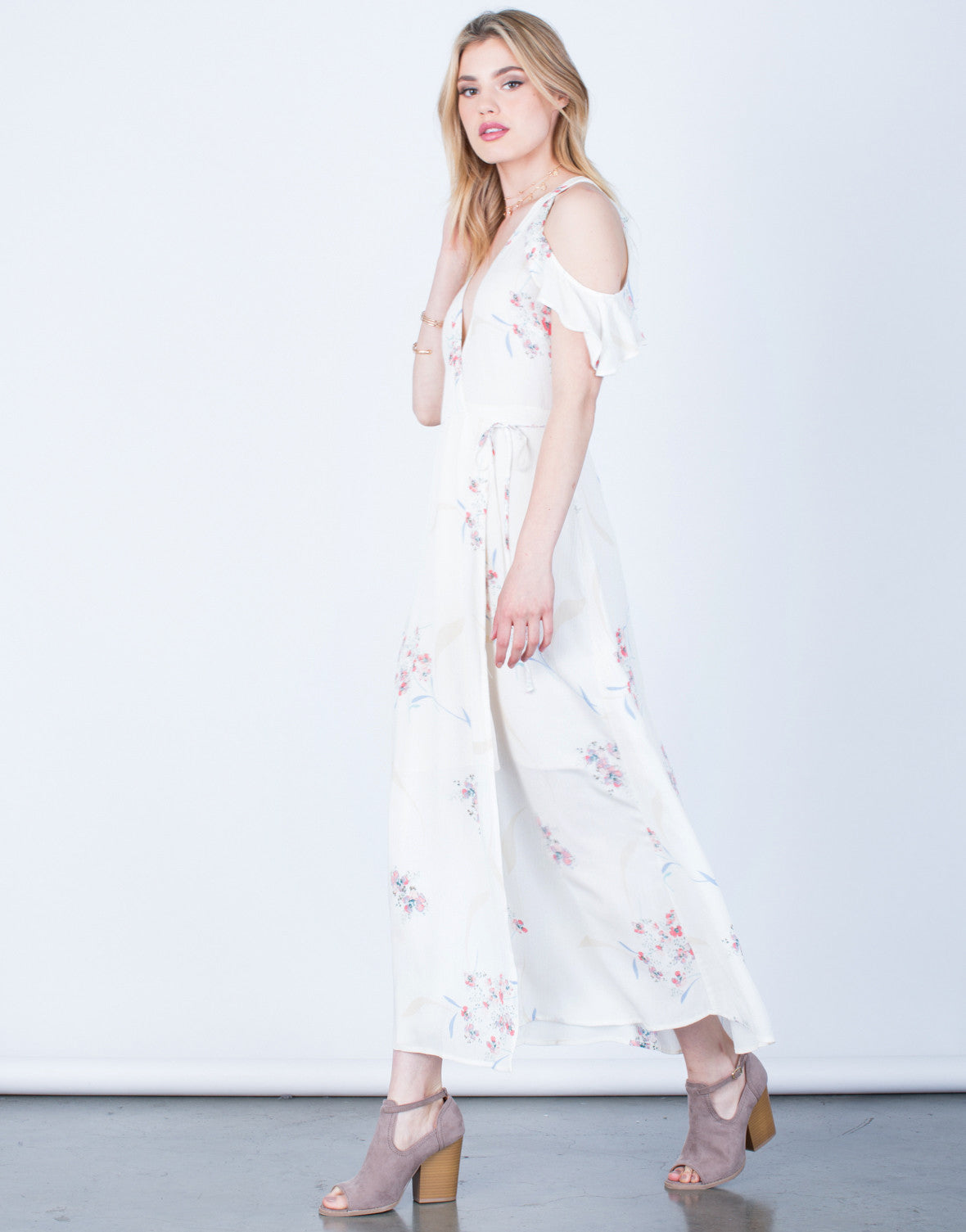 Side View of Floral Maxi Wrap Dress