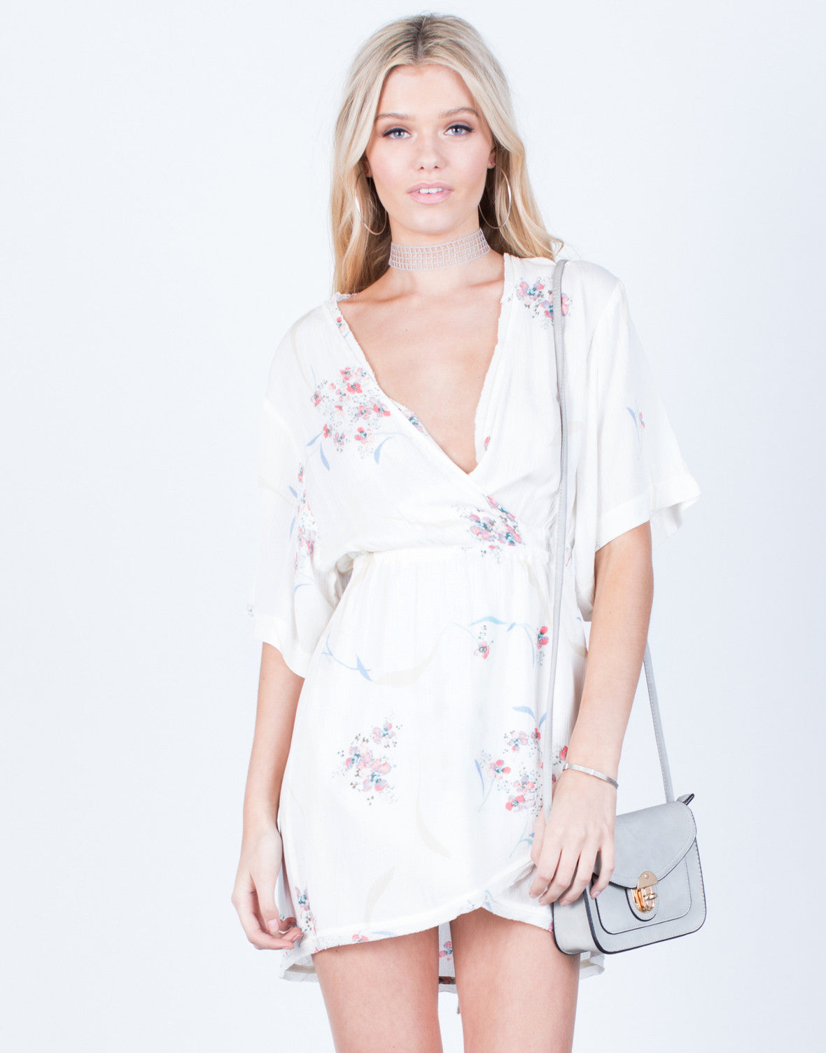 Front View of Floral Wrapped Kimono Tunic Dress