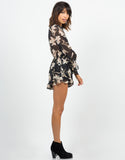 Side View of Floral Chiffon Romper