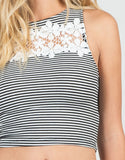 Detail of Floral Crochet Striped Tank