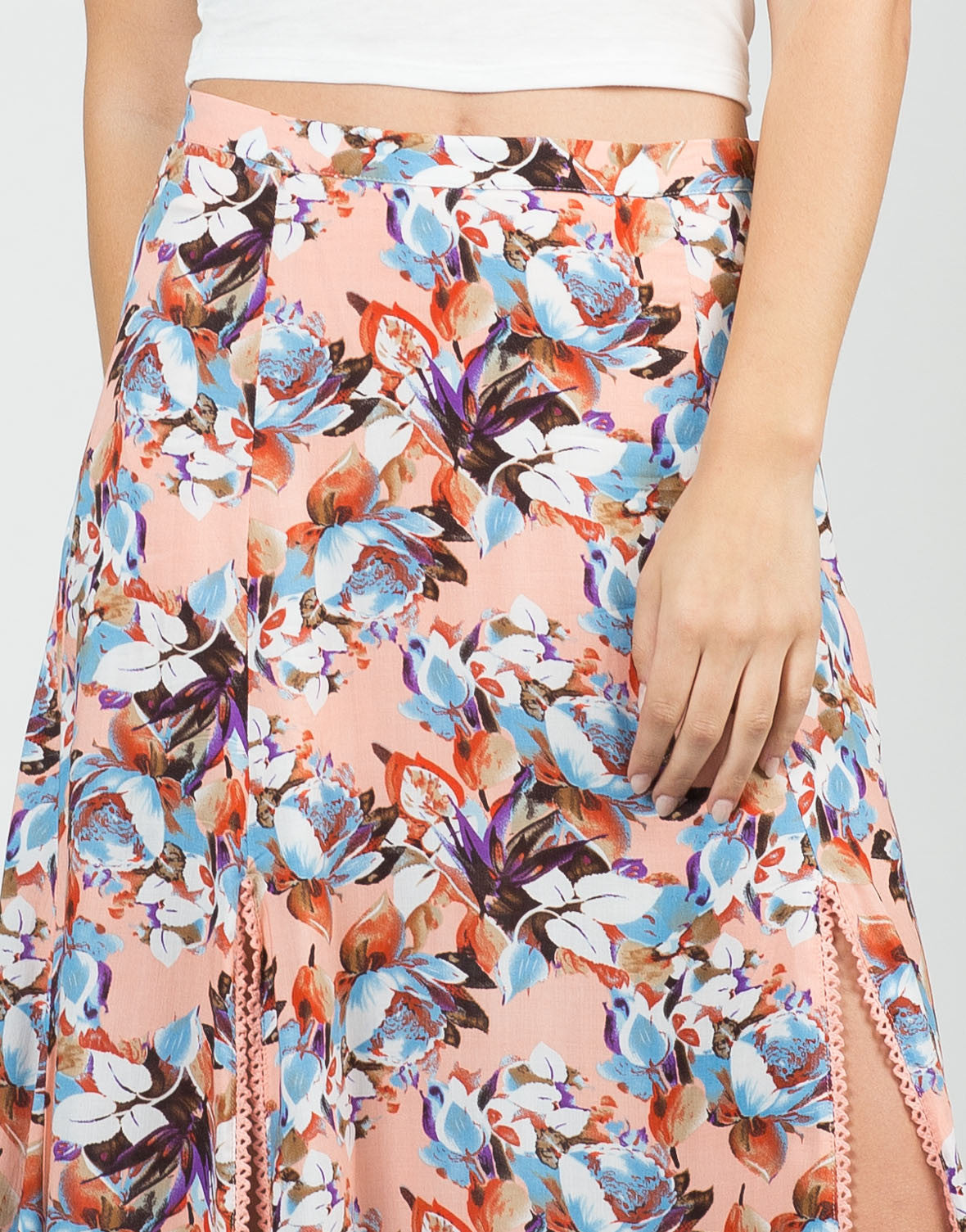 Detail of Floral Double Slit Maxi Skirt