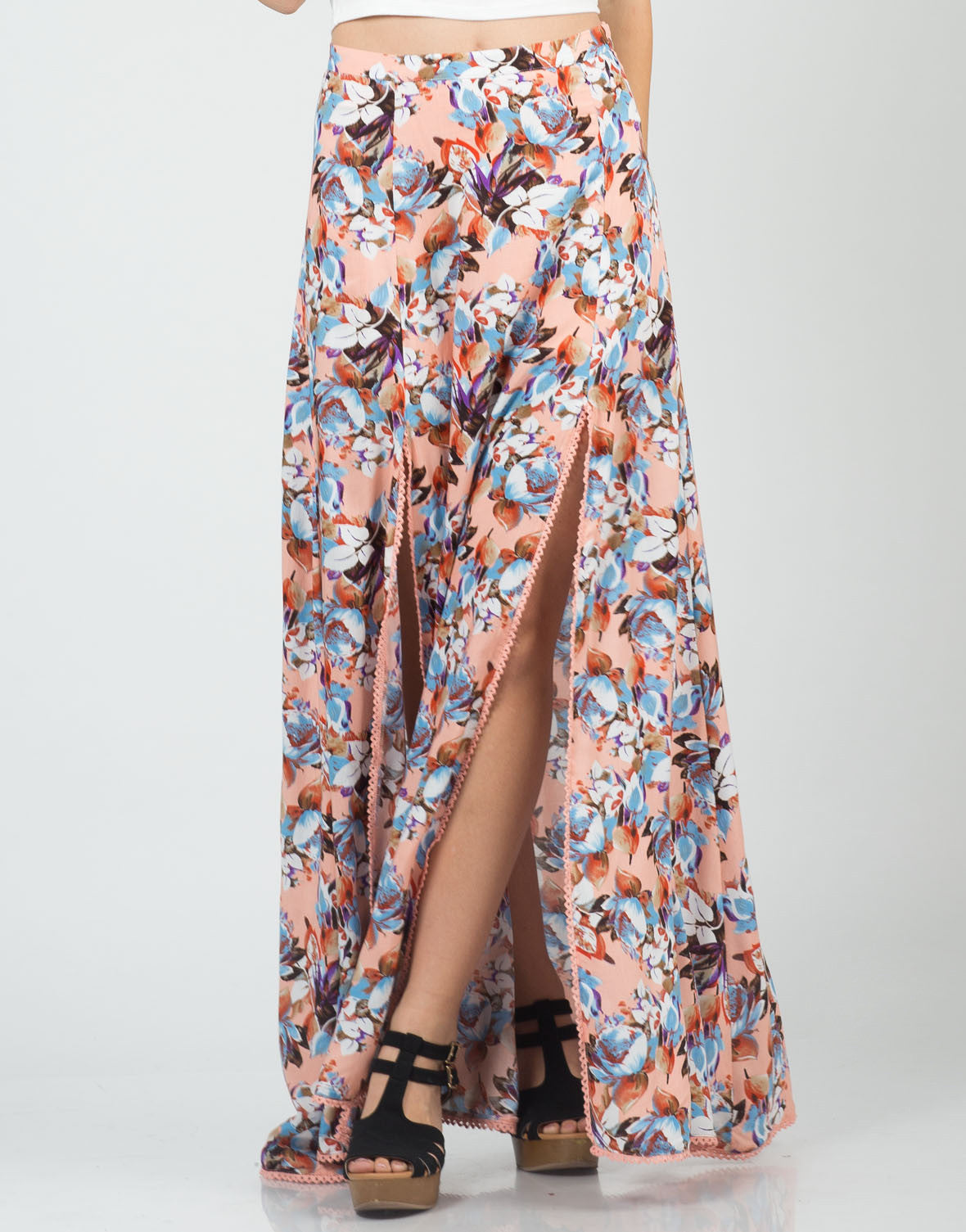 Front View of Floral Double Slit Maxi Skirt
