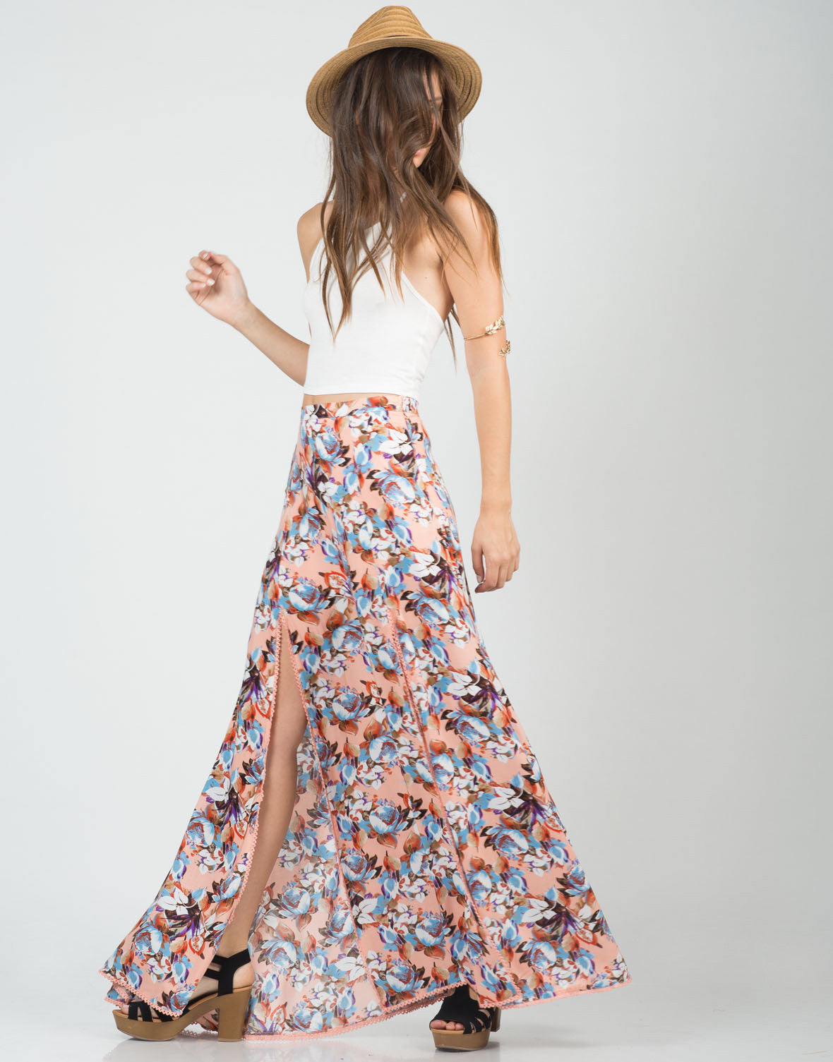 Side View of Floral Double Slit Maxi Skirt