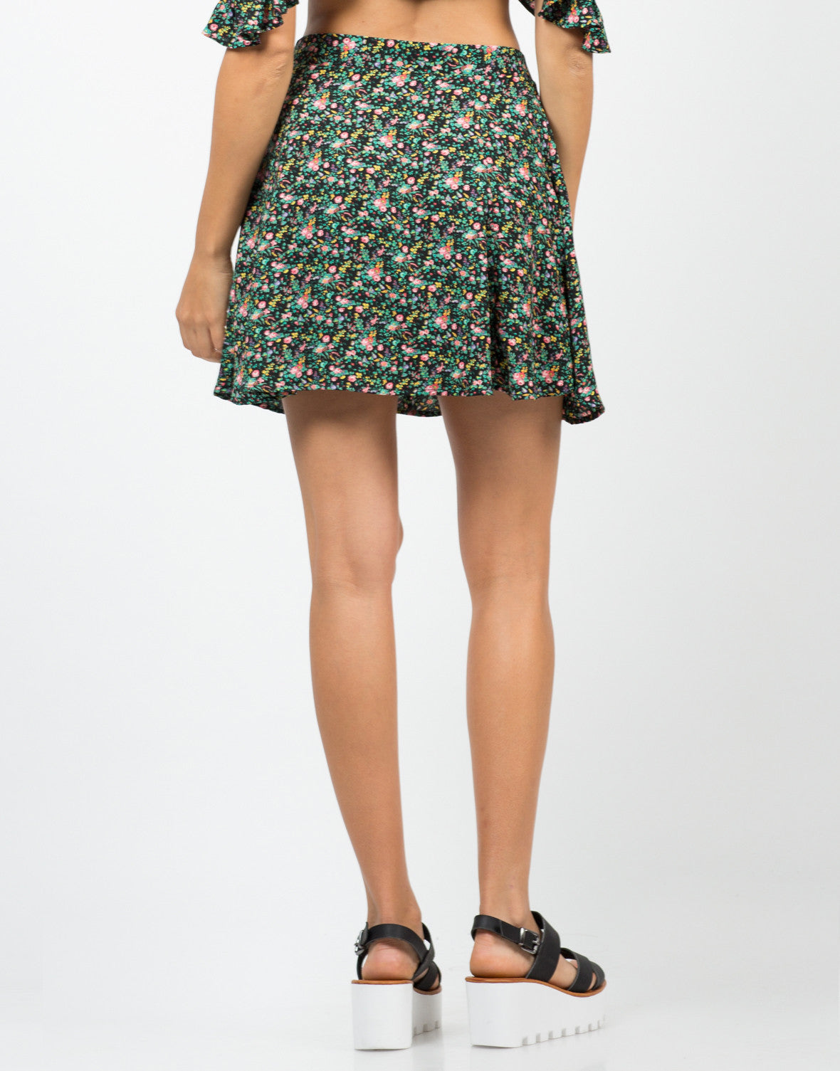 Floral Double Slit Mini Skirt