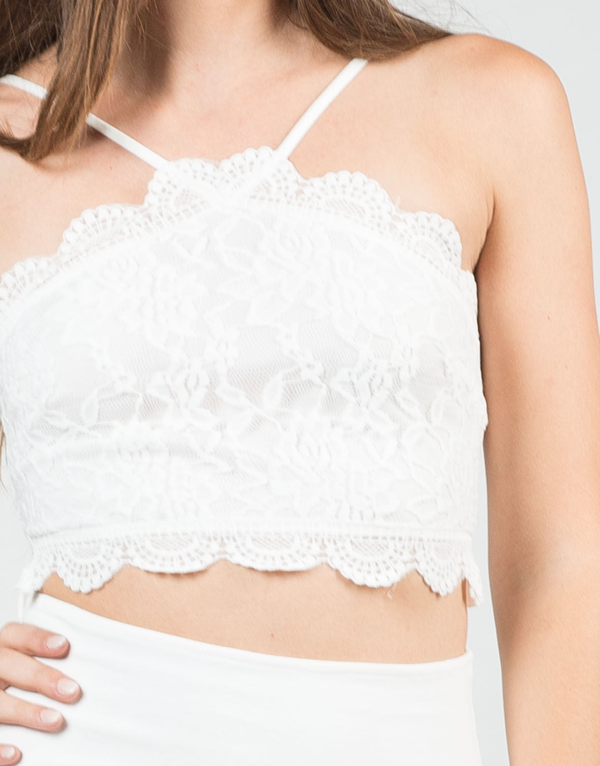 Detail of Floral Lace Cropped Top