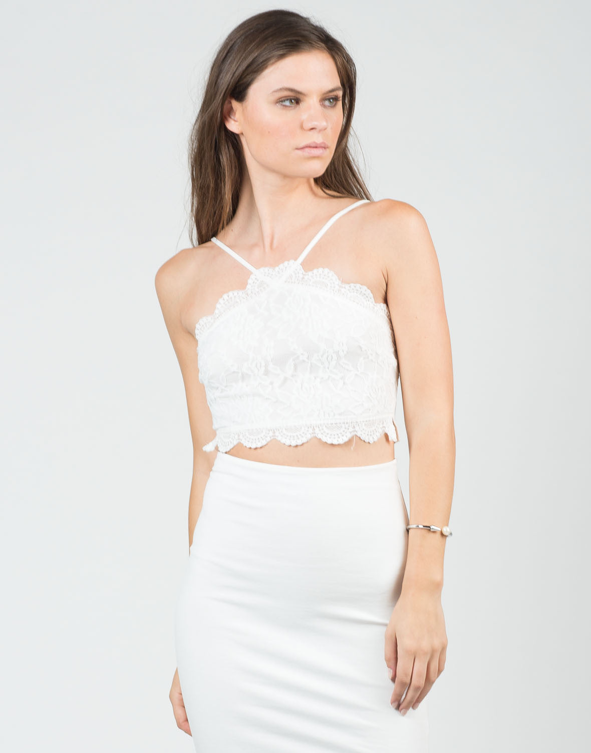 Front View of Floral Lace Cropped Top