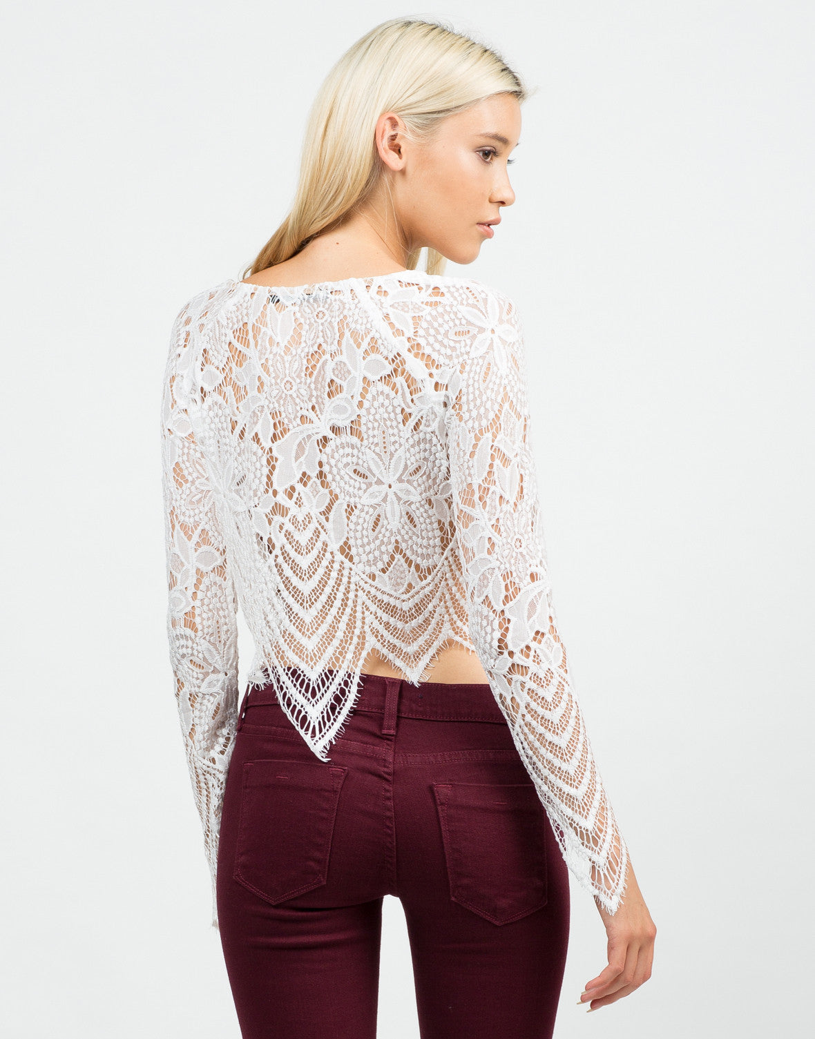 Back View of Floral Lace Crop Top