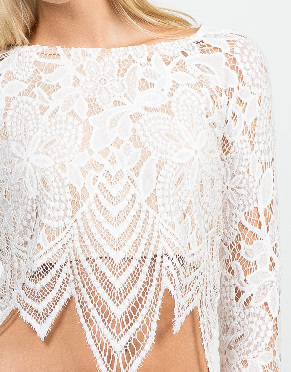 Detail of Floral Lace Crop Top