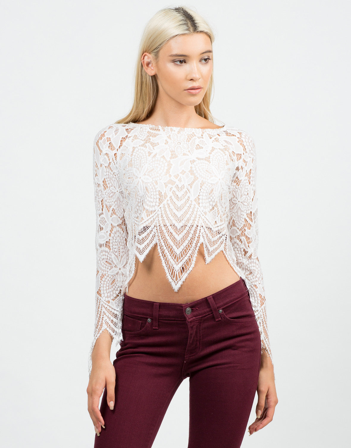 Front View of Floral Lace Crop Top