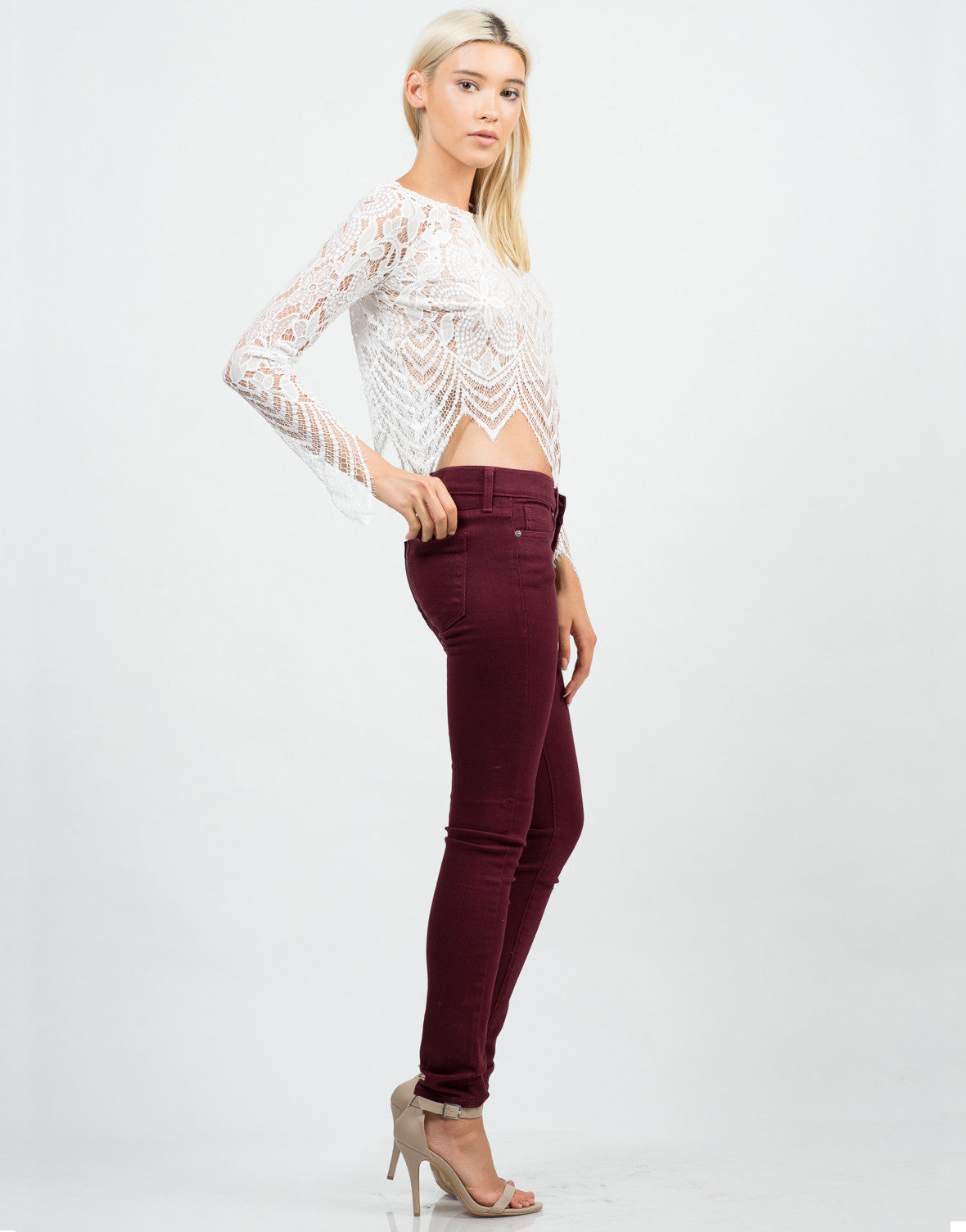 Side View of Floral Lace Crop Top
