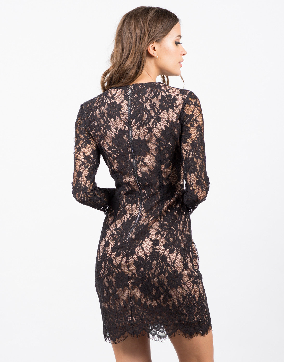 Back View of Floral Lace Overlay Dress