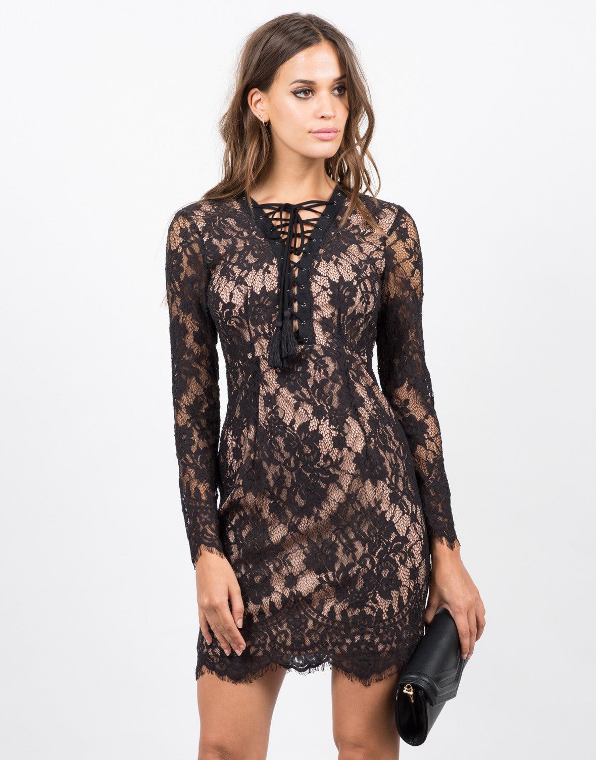 Front View of Floral Lace Overlay Dress