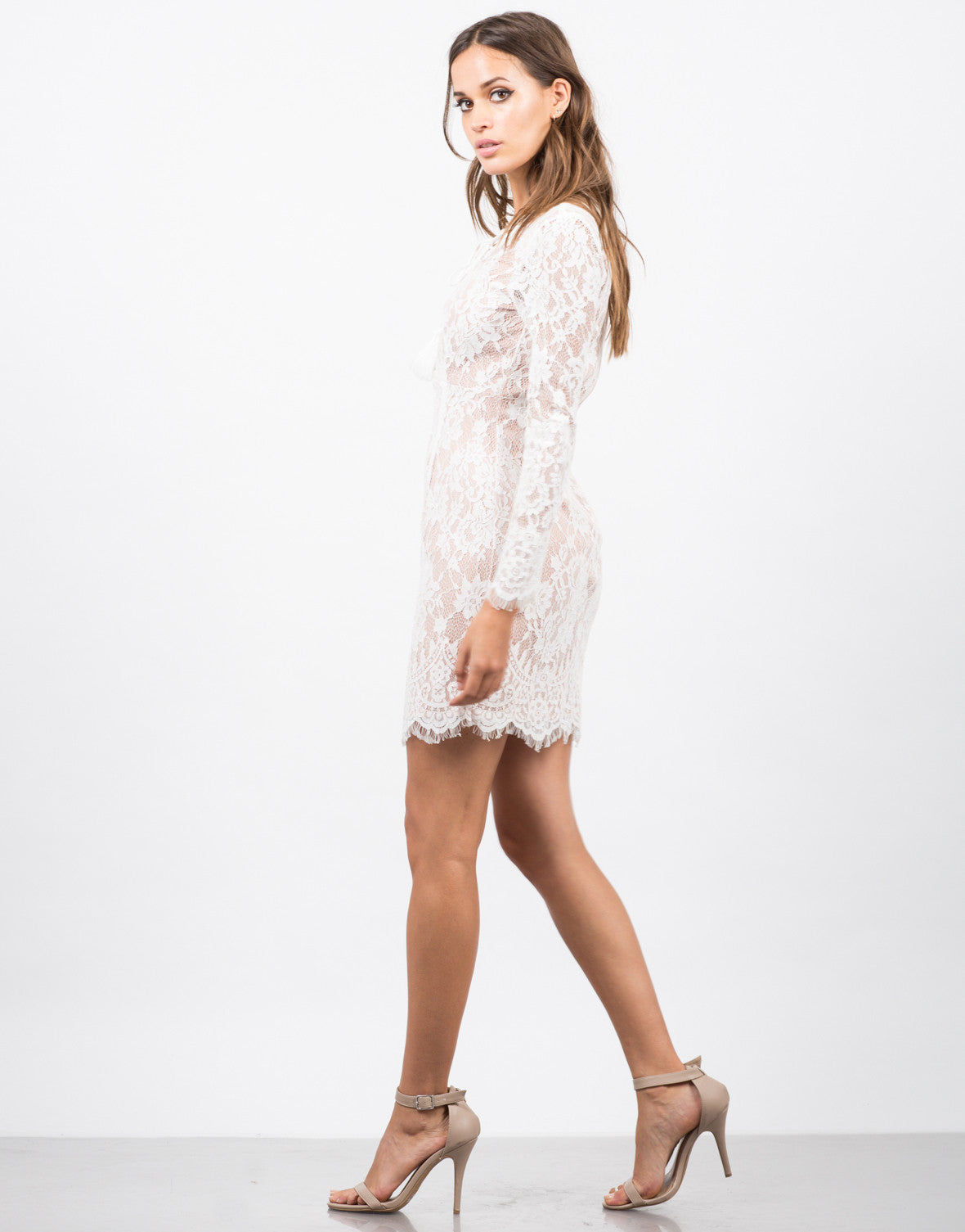 Side View of Floral Lace Overlay Dress