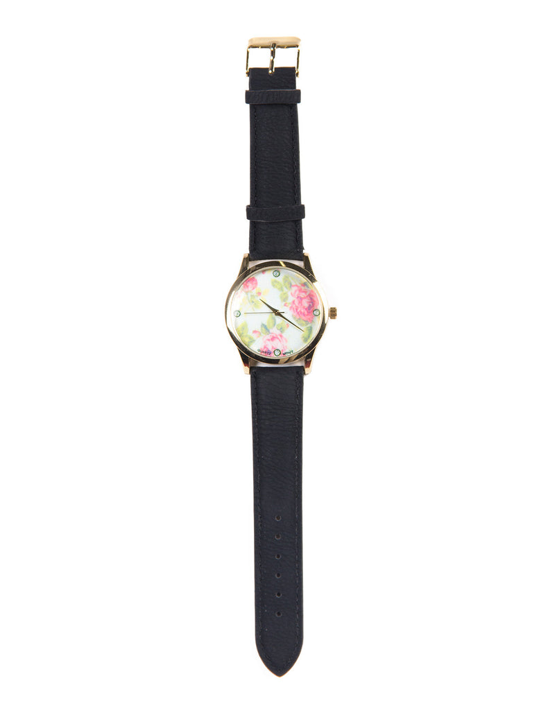 Floral Leather Watch - Black - 2020AVE