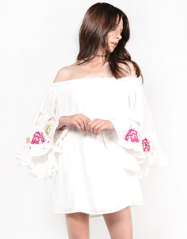 Front View of Floral Off the Shoulder Dress