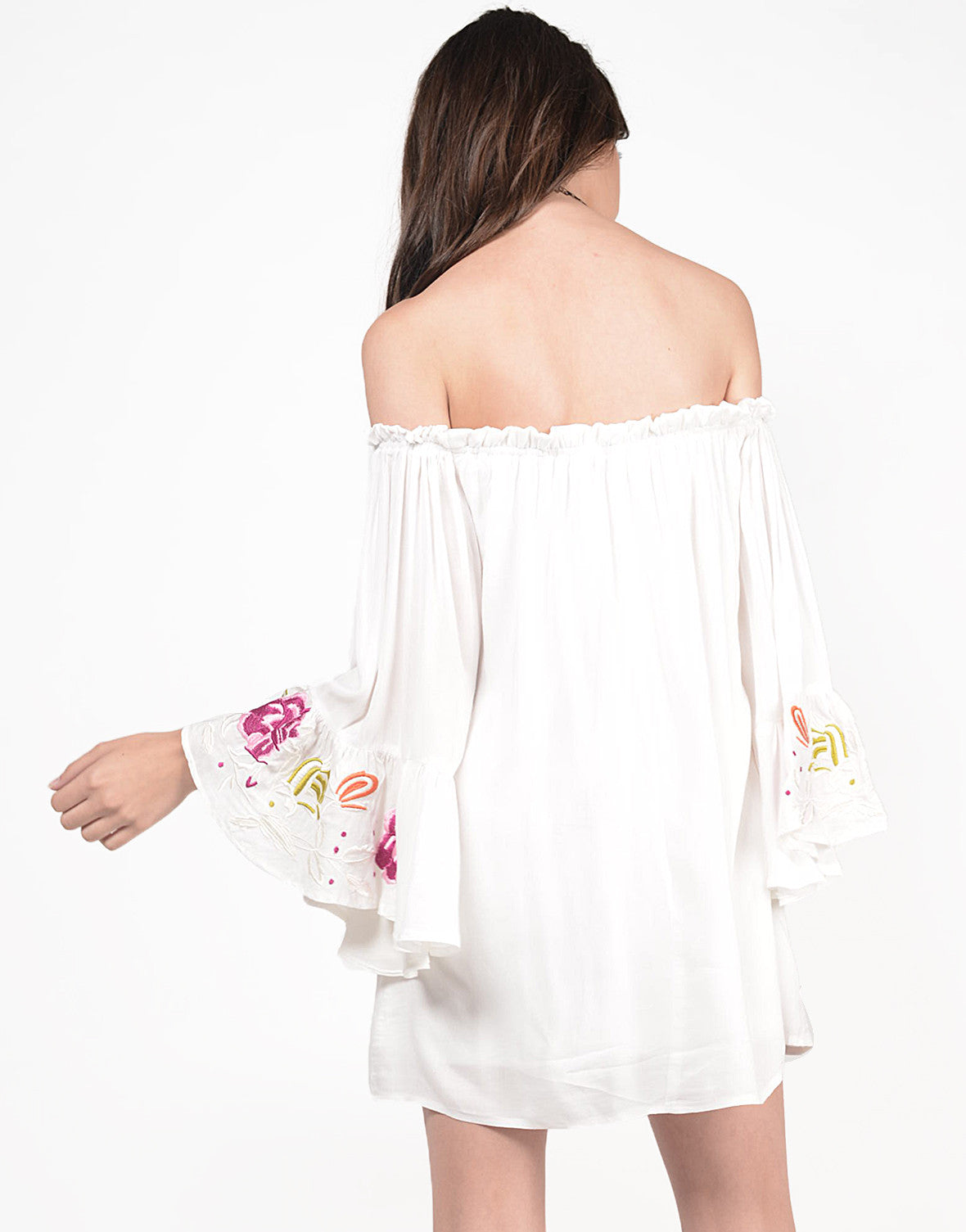 Back View of Floral Off the Shoulder Dress