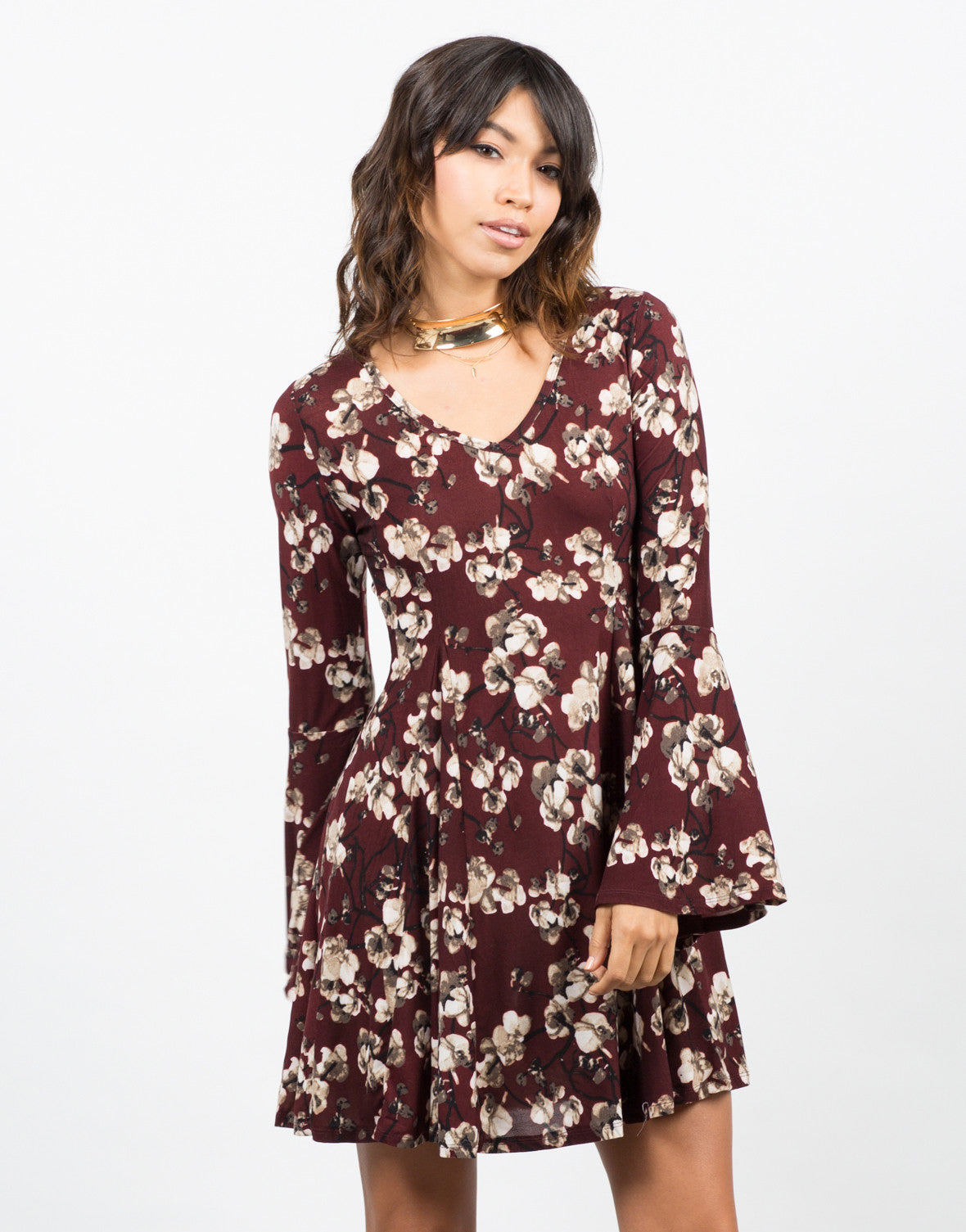 Front View of Floral Printed Flared Dress