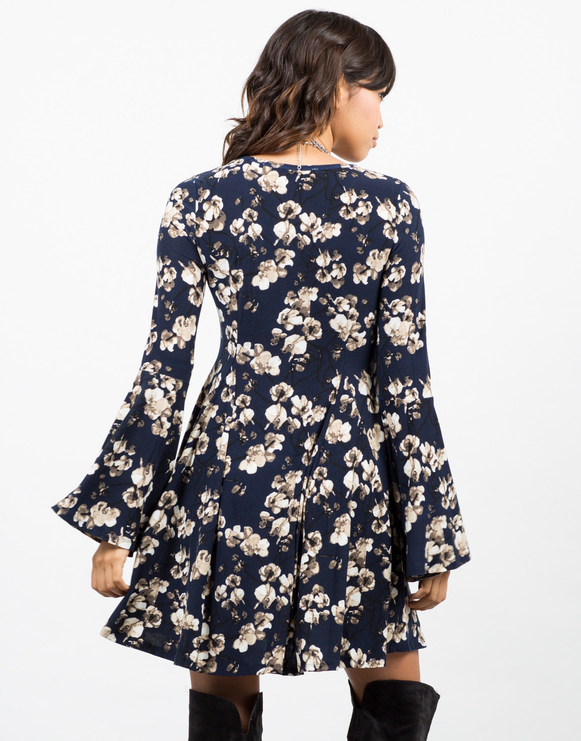 Back View of Floral Printed Flared Dress