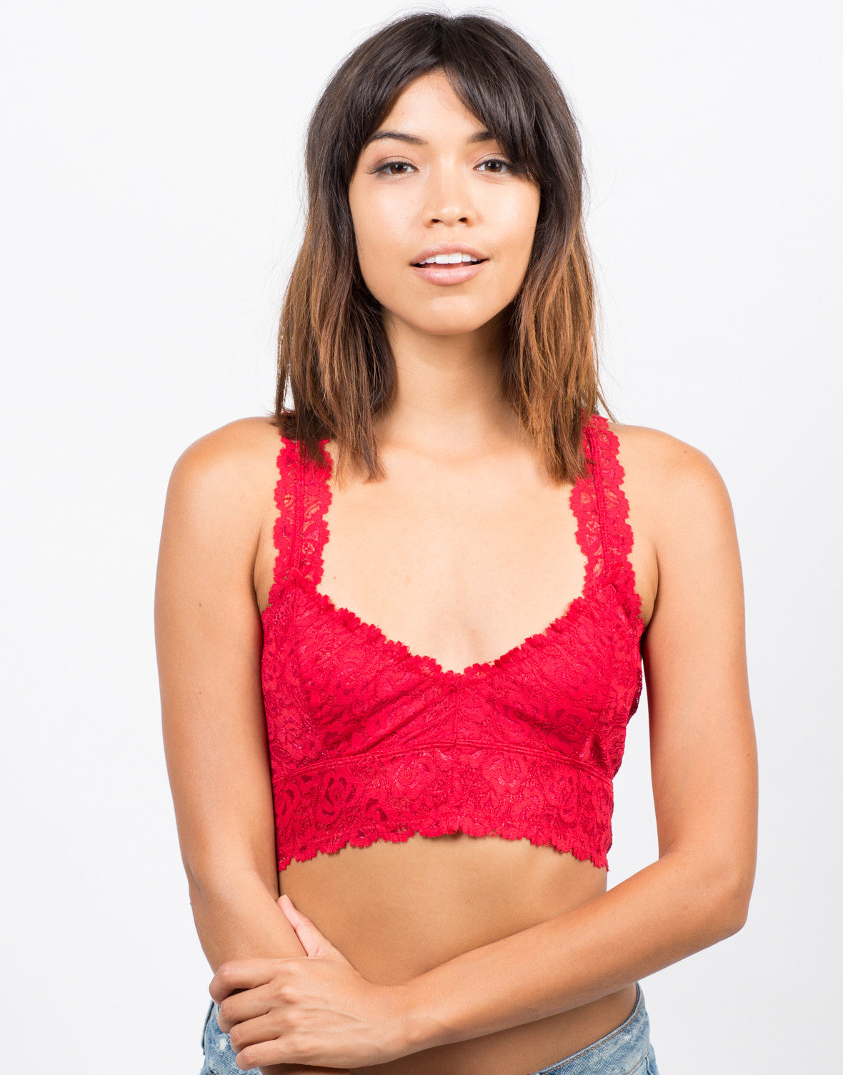 Front View of Floral Racerback Bralette