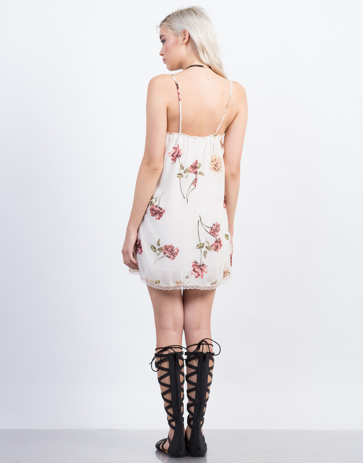 Back  View of Floral Slip Dress