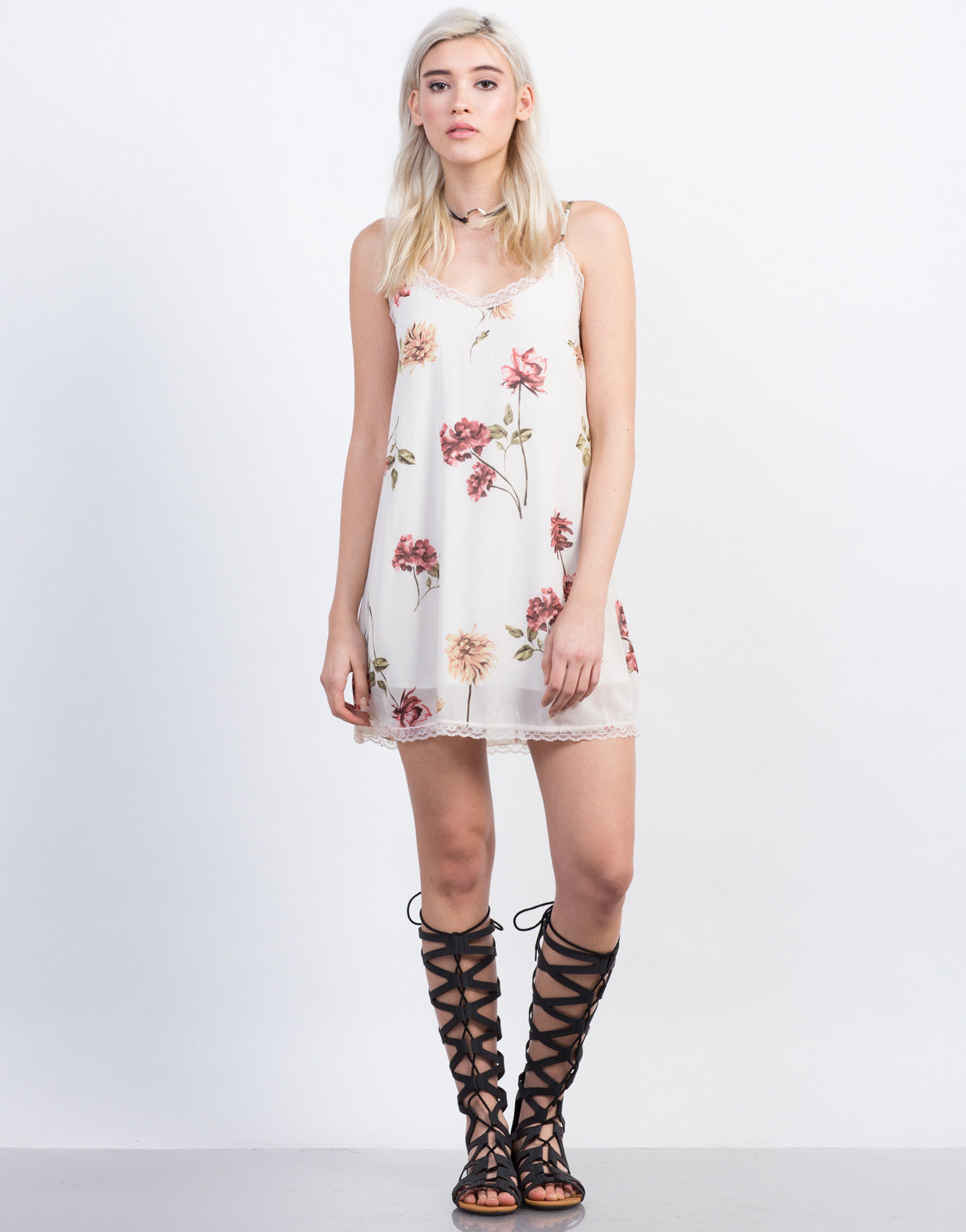 Front View of Floral Slip Dress
