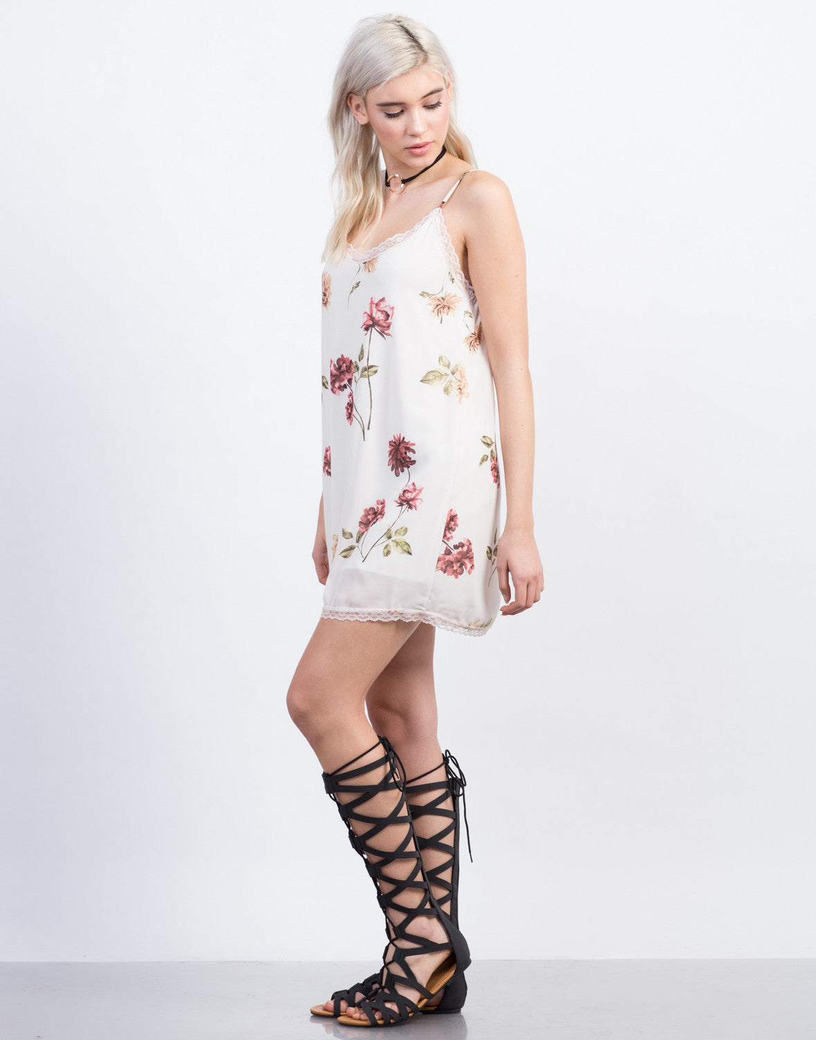 Side View of Floral Slip Dress