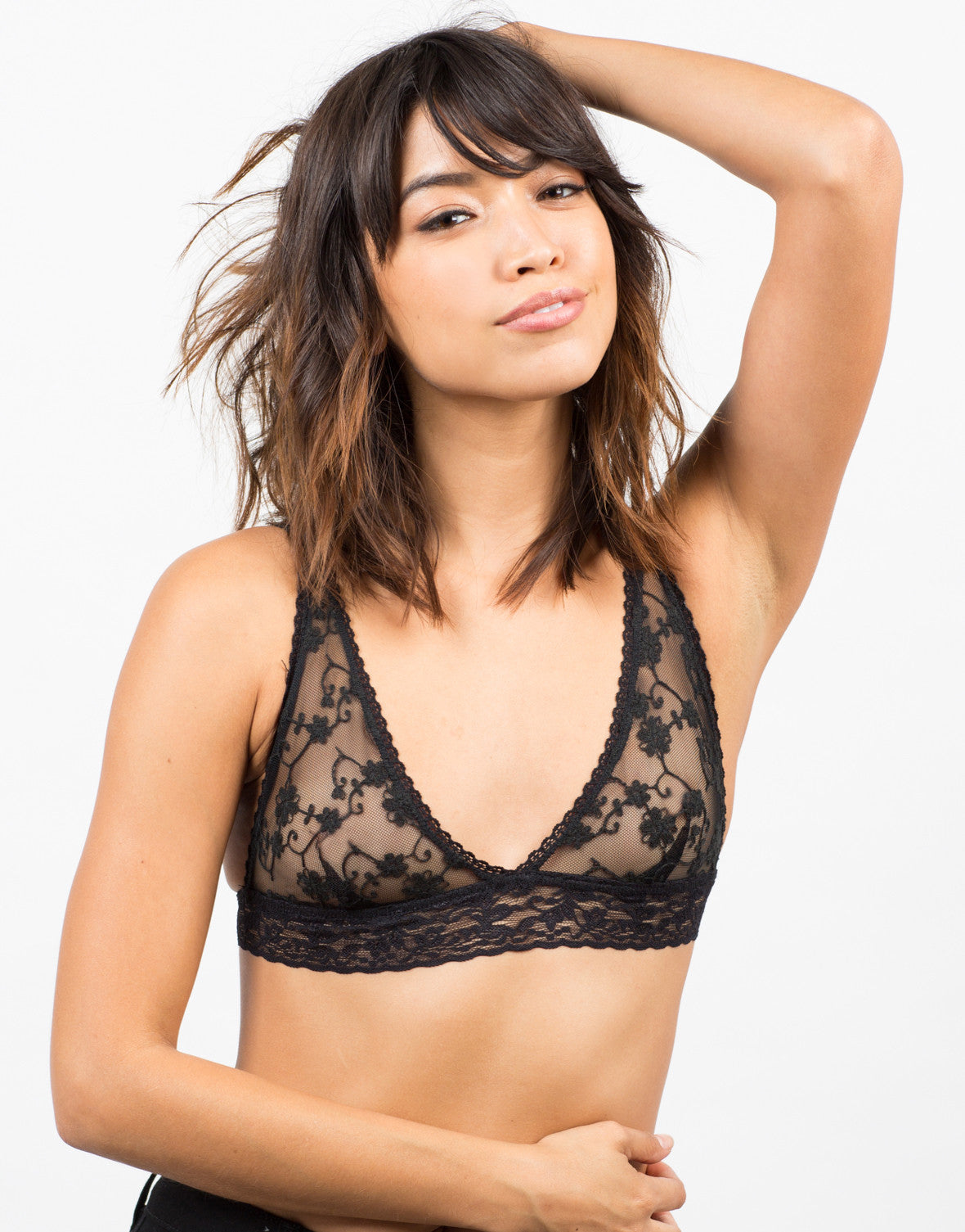 Front View of Floral Lace Triangle Bralette