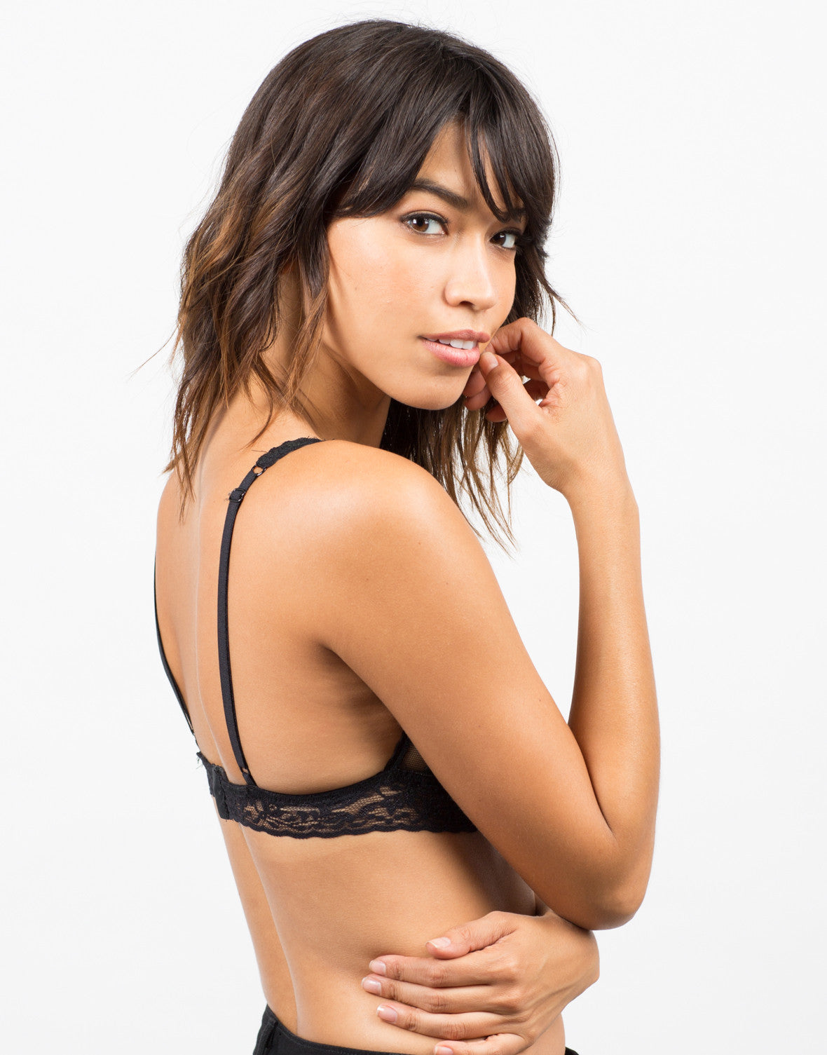 Side View of Floral Lace Triangle Bralette