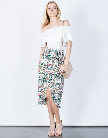 Front View of Flow into Florals Skirt