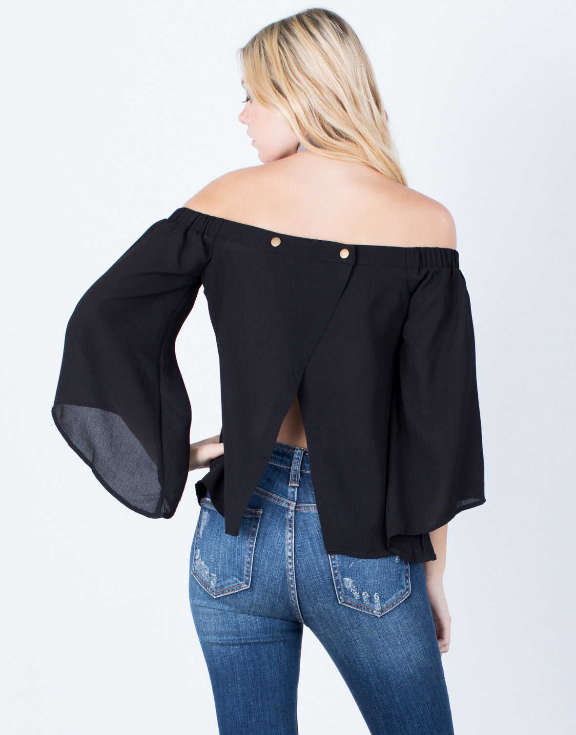 Back View of Flow Off-the-Shoulder Top