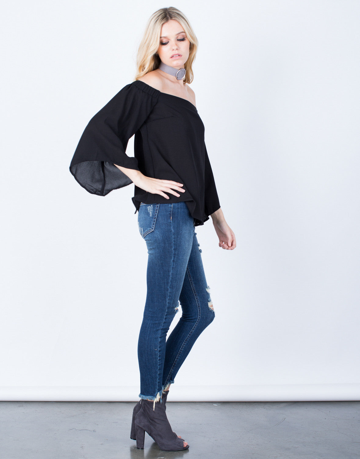 Side View of Flow Off-the-Shoulder Top